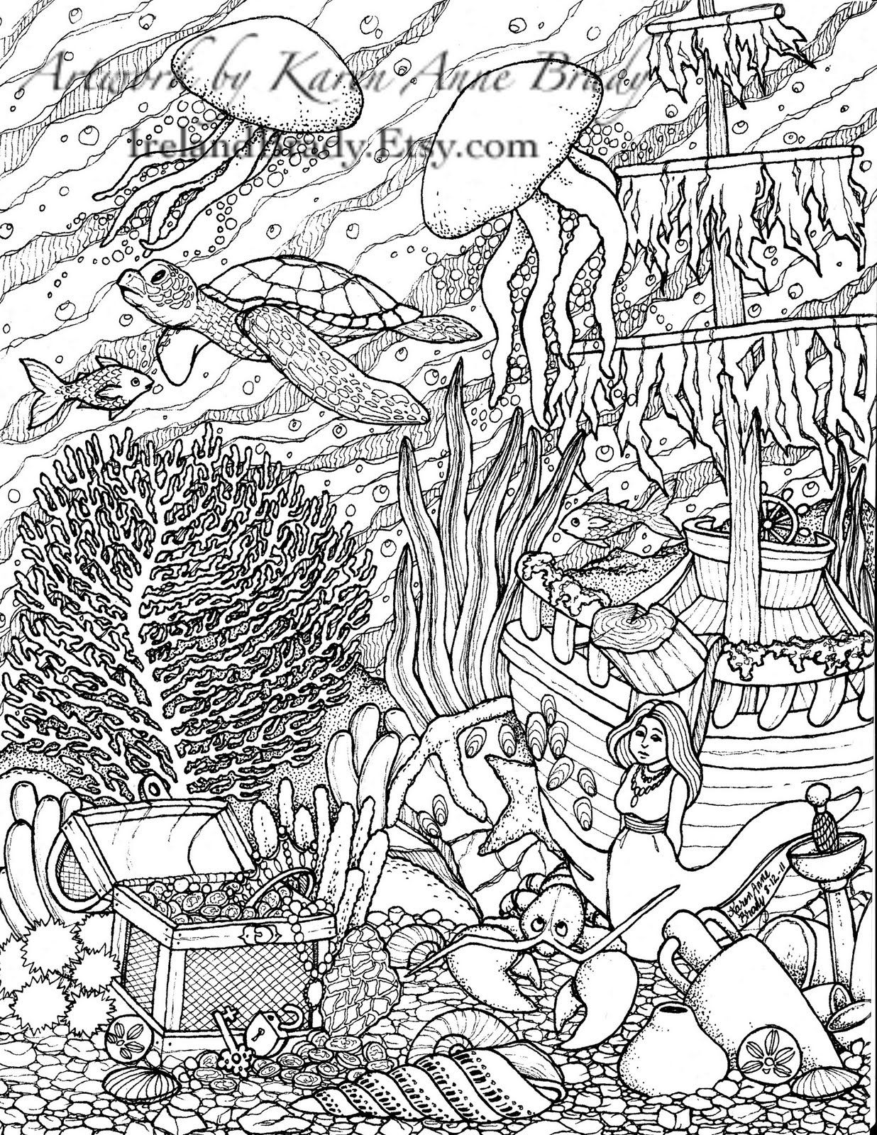 i just finished the third panel in the undersea series of coloring pages this one is complete with jellyfish a sea turtle a sunken - Color By Number Pages For Adults