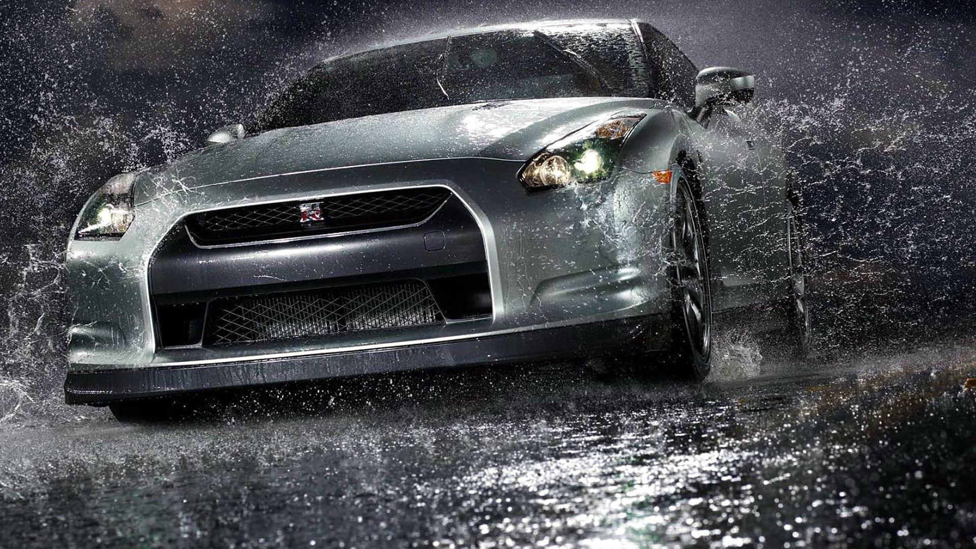 Nissan GTR in rain, hd wallpapers from www.HotSzots.eu