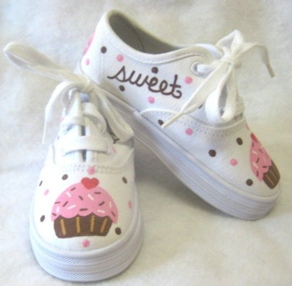 Cupcake Shoes With Sprinkles And Polka Dots Hand Painted Etsy Shoe Cupcakes Trending Shoes Trending Womens Shoes