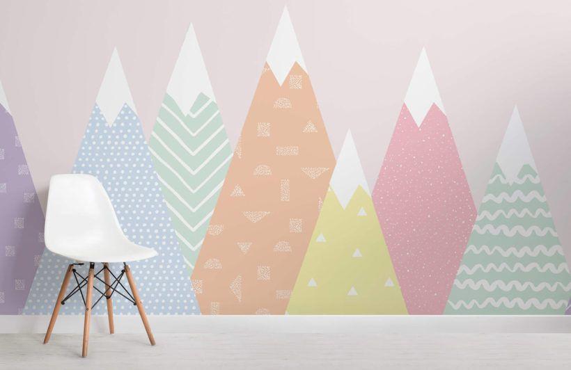 Kids Pastel Patterned Mountains Wallpaper Mural