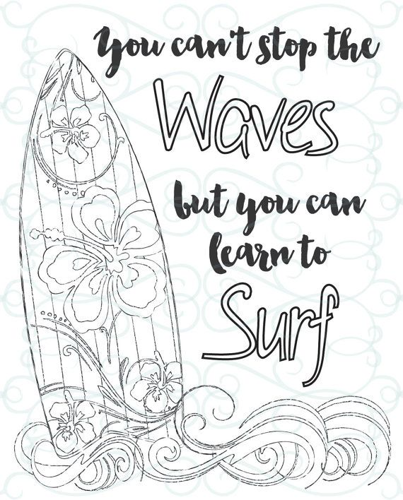 graphic relating to Printable Inspirational Coloring Pages called Grownup Inspirational Coloring Website page printable 03-Master towards Surf