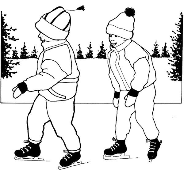 Two Boy Ice Skating Coloring Page Ice Skating Coloring Pages