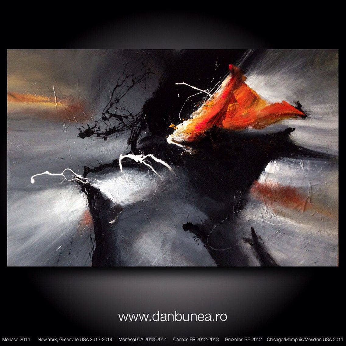 "Large abstract painting by Dan Bunea: ""Misterious nights 2"", 80x120cm or…"
