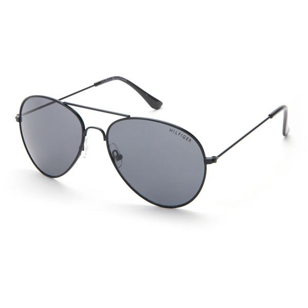 Tommy Hilfiger Black Tony Aviator Sunglasses ($20) ❤ liked on Polyvore featuring accessories, eyewear, sunglasses, black, aviator sunglasses, lens glasses, tommy hilfiger sunglasses, nose pads glasses and aviator style sunglasses