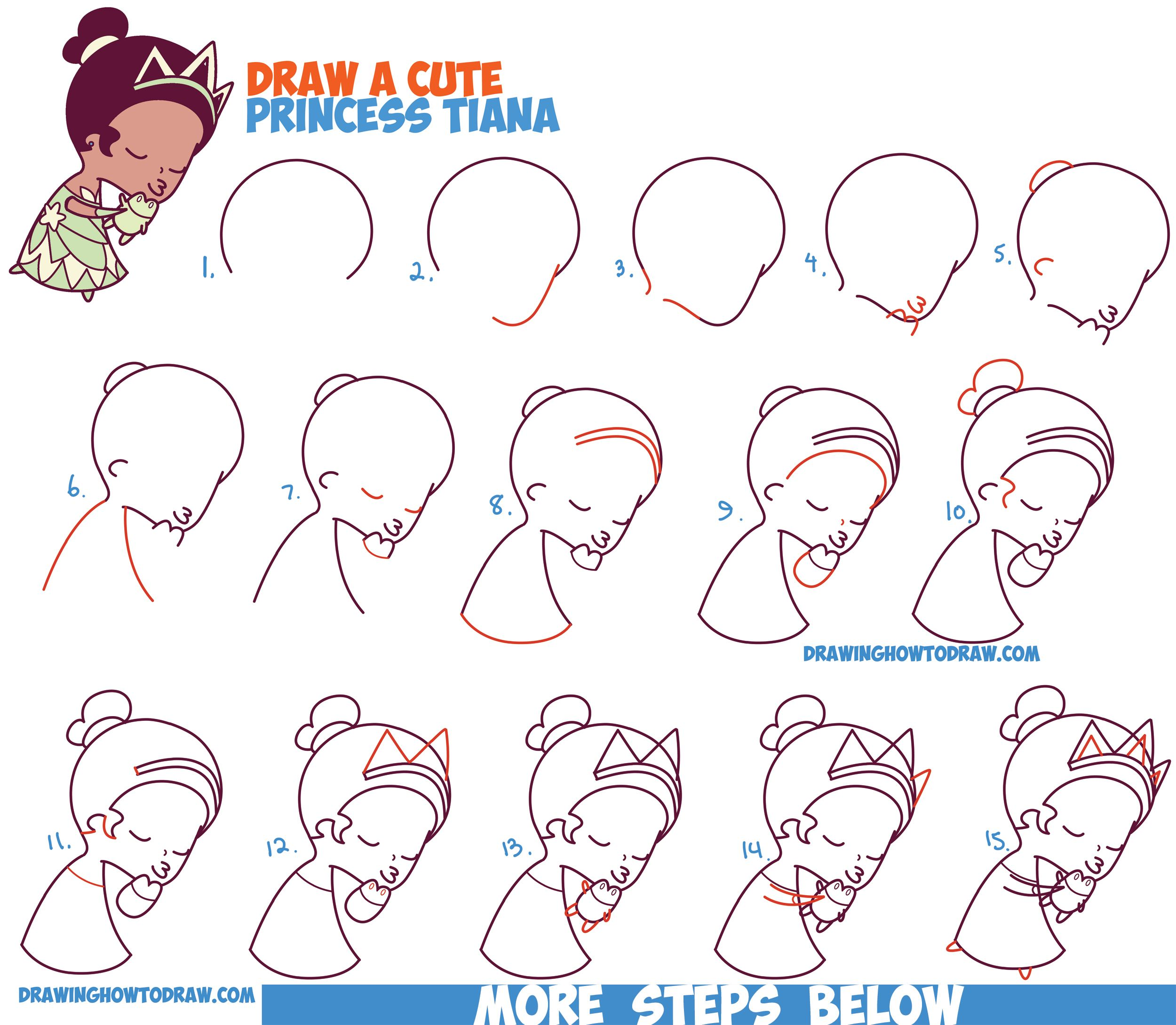 How to draw princess tiana cute chibi kawaii from disneys princess and the frog easy steps drawing tutorial for kids