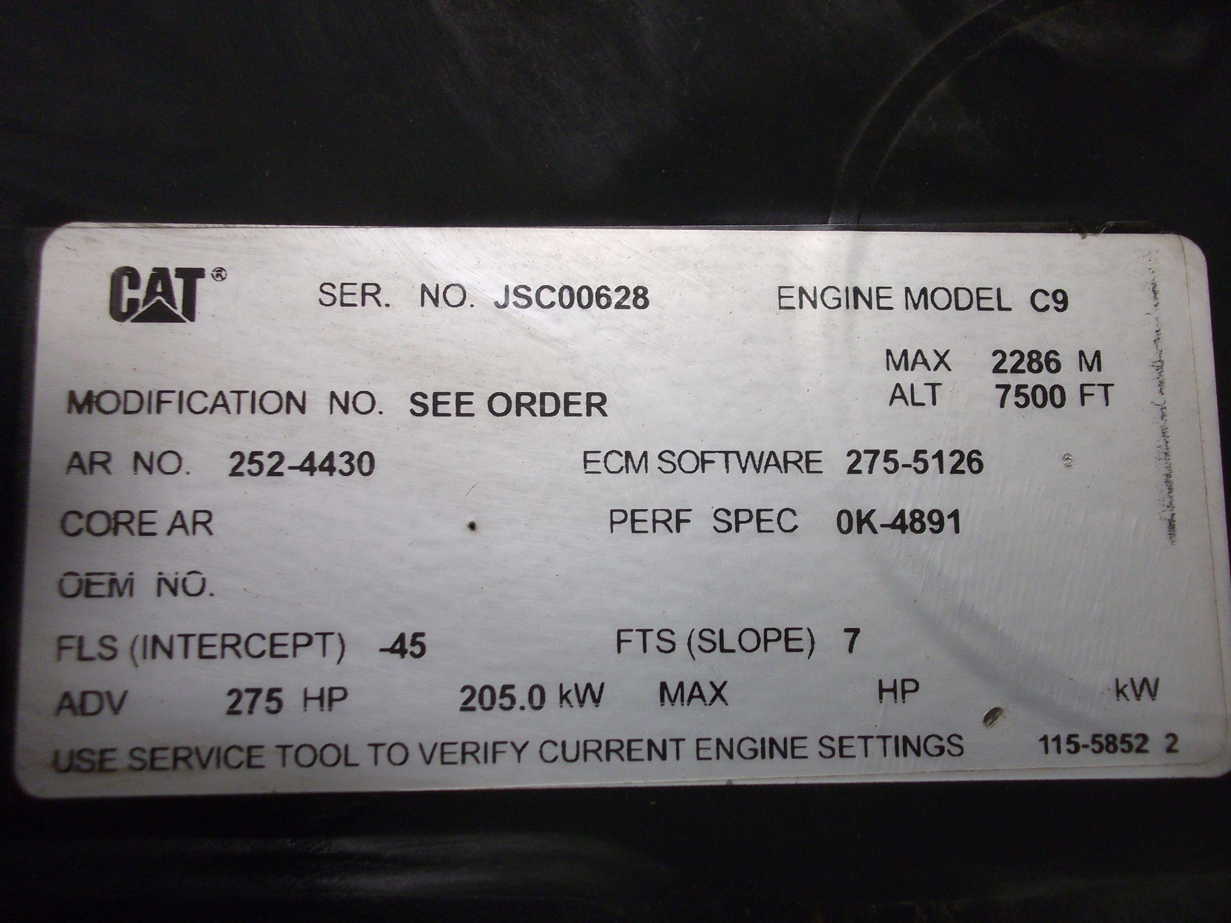 Caterpillar C9 ACERT Industrial Engine Power Base 275 HP 205