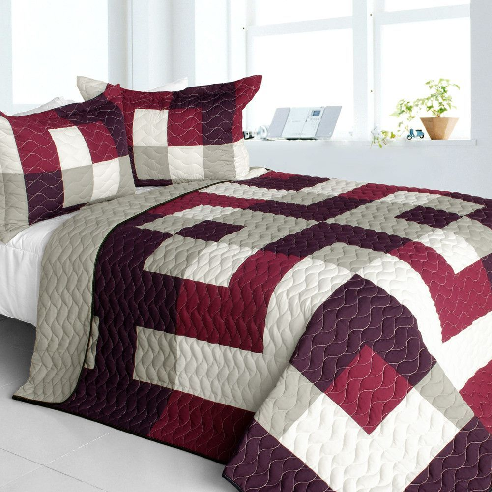Love Affair 3PC Vermicelli Quilted Patchwork Quilt Set in Full/Queen Size