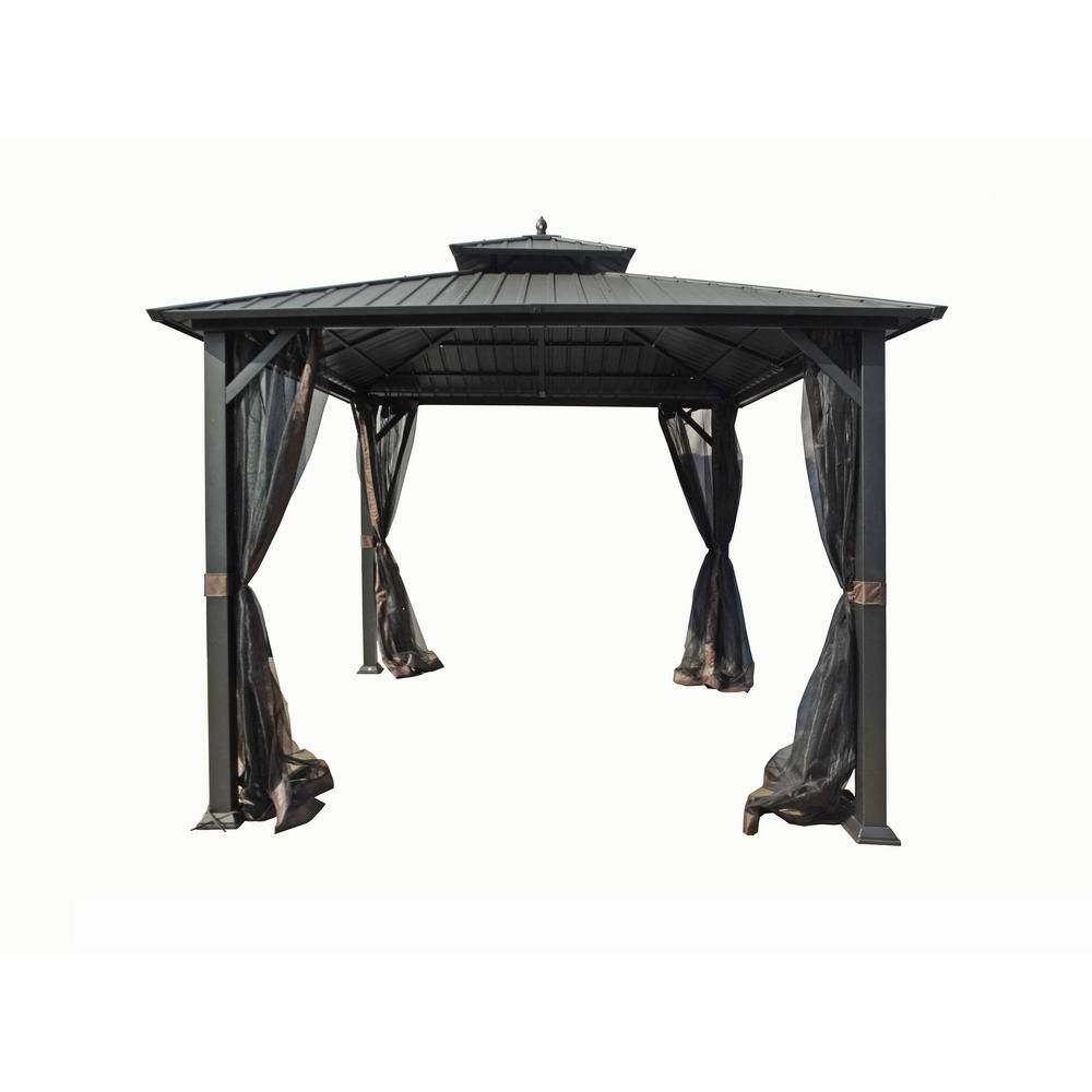 Hampton Bay 10 Ft X 10 Ft Holden Outdoor Patio Black Hard Top Galvanized Steel Gazebo Tpgaz9011 The Home Depot Steel Gazebo Gazebo Hampton Bay
