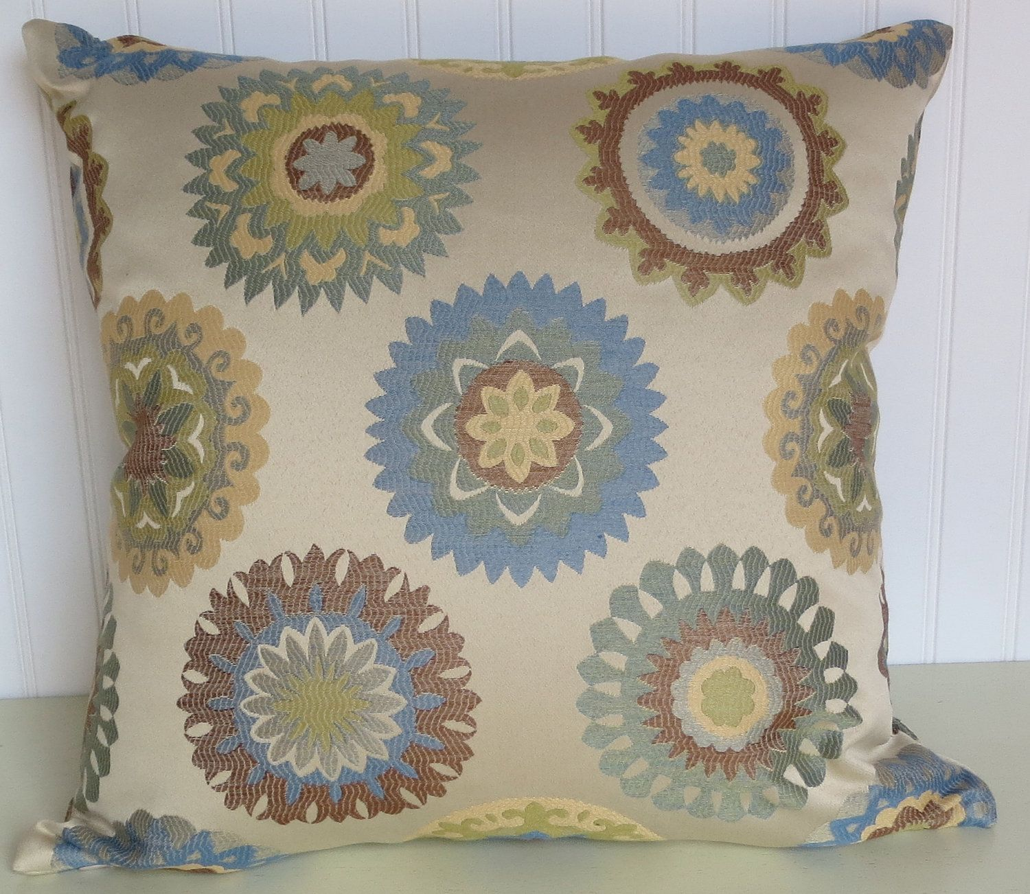 Decorative pillows with blue brown and yellow - Woven Decorative Pillow Cover 20 X 20 Transitional Throw Pillow Wedgewood Blue Green
