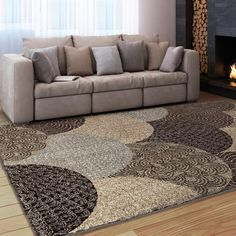 Carolina Weavers Grand Comfort Collection Austral Multi Area Rug (5 ft 3 in x 7 ft 6 in), Beige, Size 5' x 8' (Plastic, Geometric)
