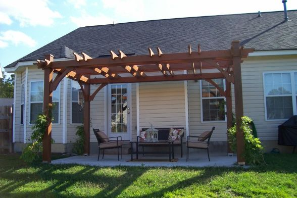 Custom Built 12x16 Pergola Built On A Small Budget We Found A Plan In A Magazine And Hired A Local Handyman Who Kn Building A Pergola Pergola Outdoor Pergola
