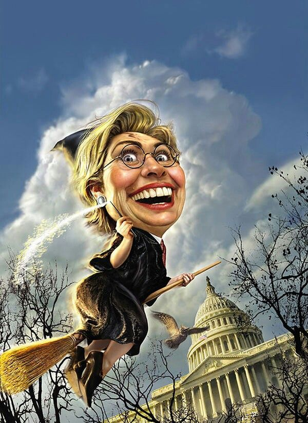Hillary a Witch to some, Bringing her Broom to The White House, and going to sweep a lot of this Political B. S. Away in 2016