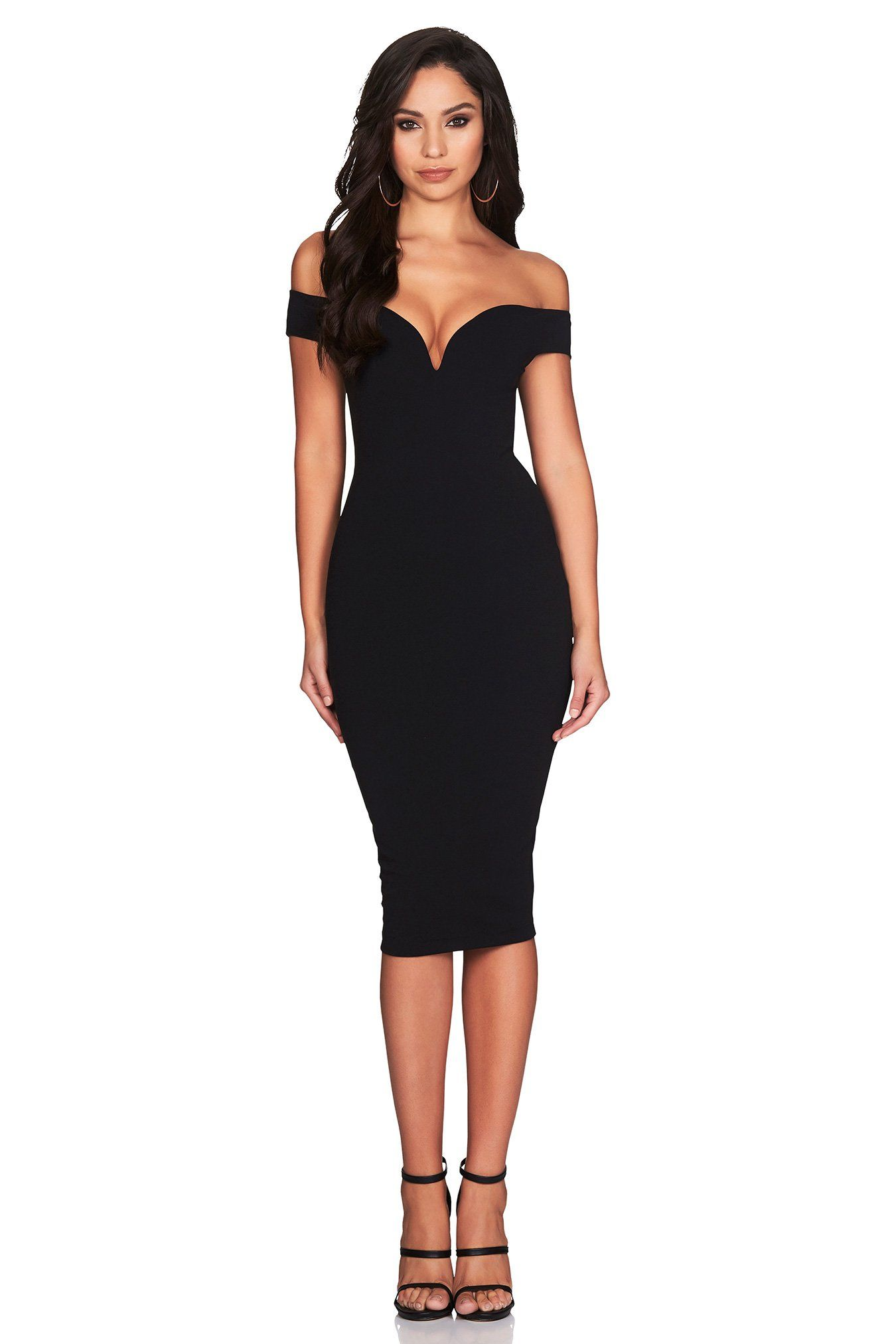 ea4ced207479 The Nookie Elena Midi Dress in Black features a off the shoulder sweetheart  neckline with an