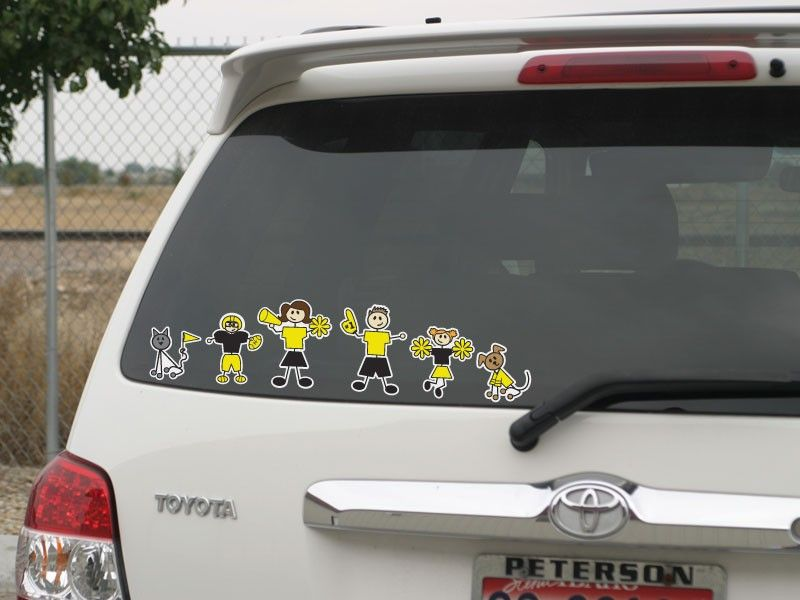 Sports Color Family Stickers FamilyStickerscom Family Car - Window clings for car sports