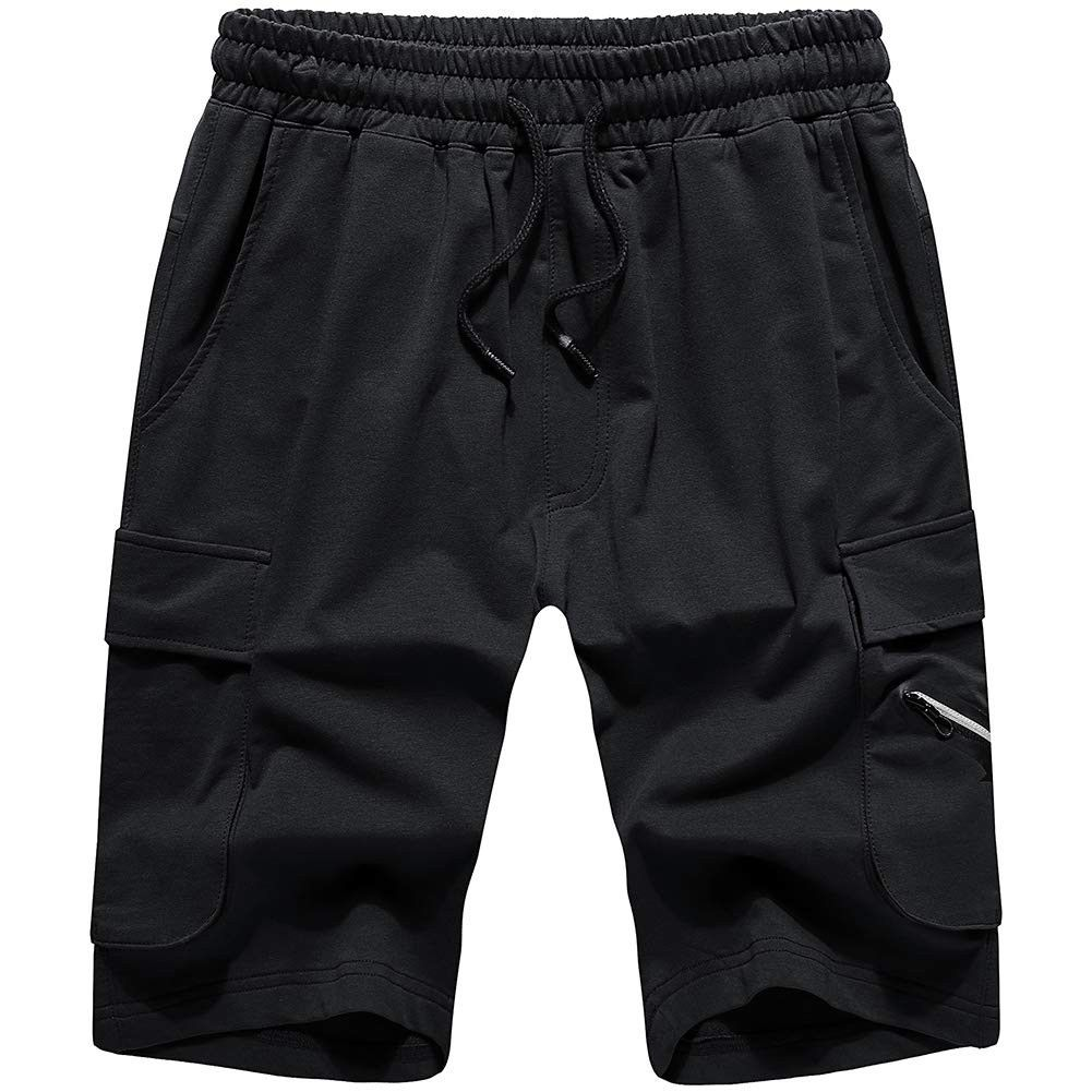 Men's Summer Casual Shorts Elastic Waist Short Pants Workout Pockets - Black 17 - C618OQKUL7K - Spor...