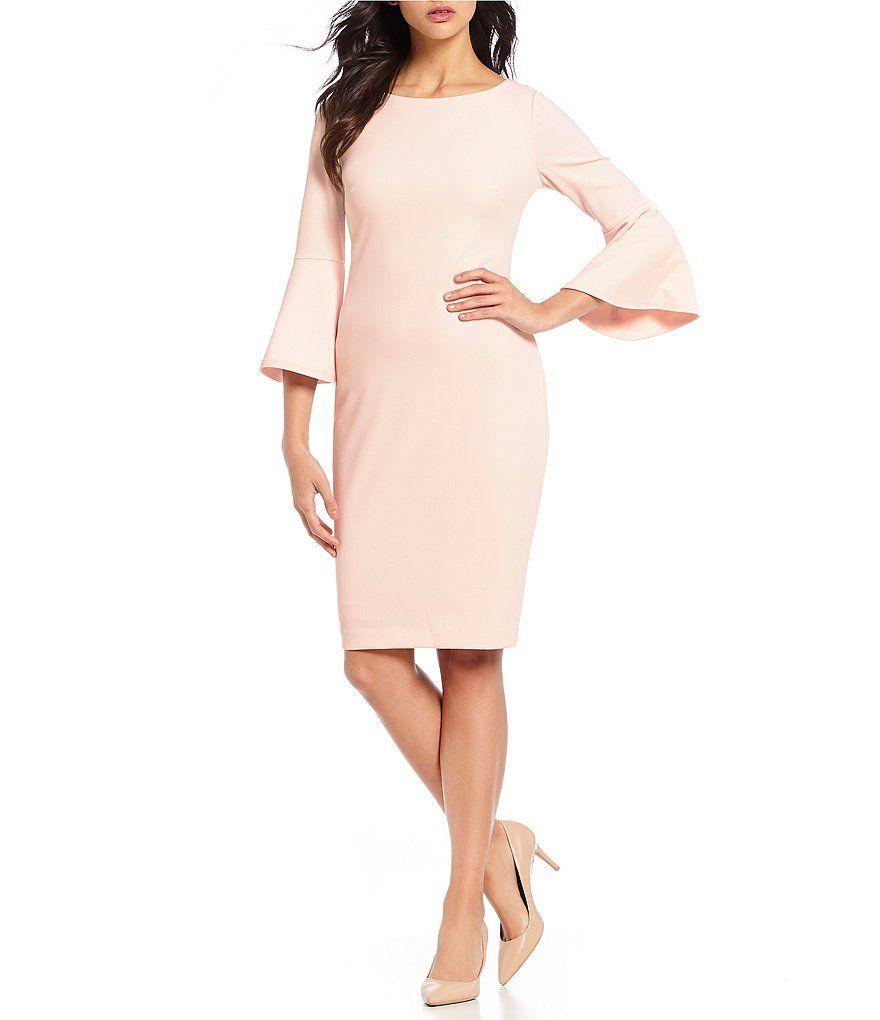 307246bfc5 Calvin Klein 3 4 Sleeves Bell Sleeve Sheath Dress