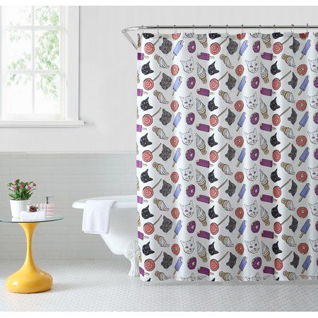 Oh Hello Fabric Shower Curtain Cat Junkfood 80 Polyester