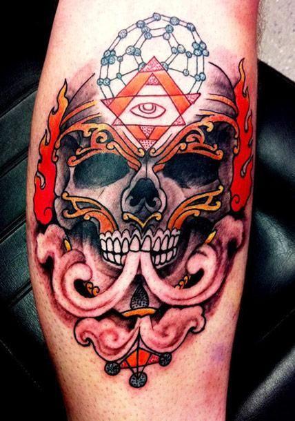 Old School Skull Tattoo by Lee Piercy - http://worldtattoosgallery.com/old-school-skull-tattoo-by-lee-piercy/