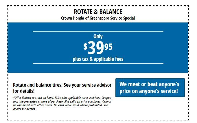 Rotate And Balance Special At Crown Honda Greensboro:  Https://www.crownhondagreensboro