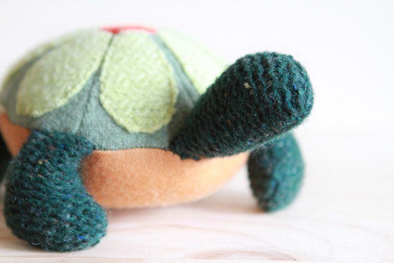 upcycled green and orange wool turtle plush - tortue de laine récupéré verte et orange. $52.00, via Etsy.