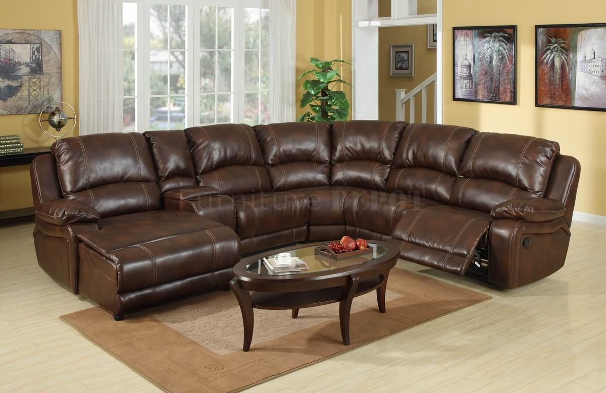 Lovely Dark Brown Leather Sectional Sofa With Recliner And Coffee Table