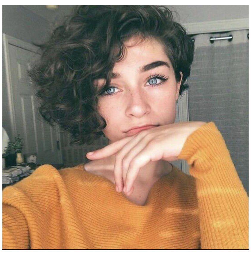 girl short hair aesthetic faceless