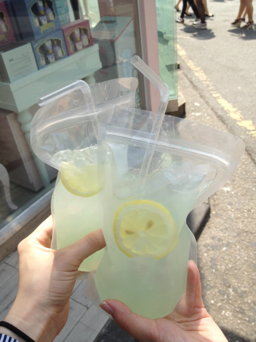 Adult Capri Suns--Bag o' (vodka) lemonade - perfect for the beach! best idea ever. Freeze it first and take to beach and squeeze to make it slushy--this way it won't get watered down:)