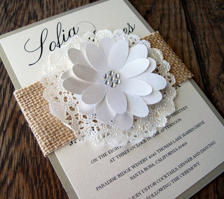 Wedding Invitation Burlap Lace Doily Sleeve Shabby Chic Country ...