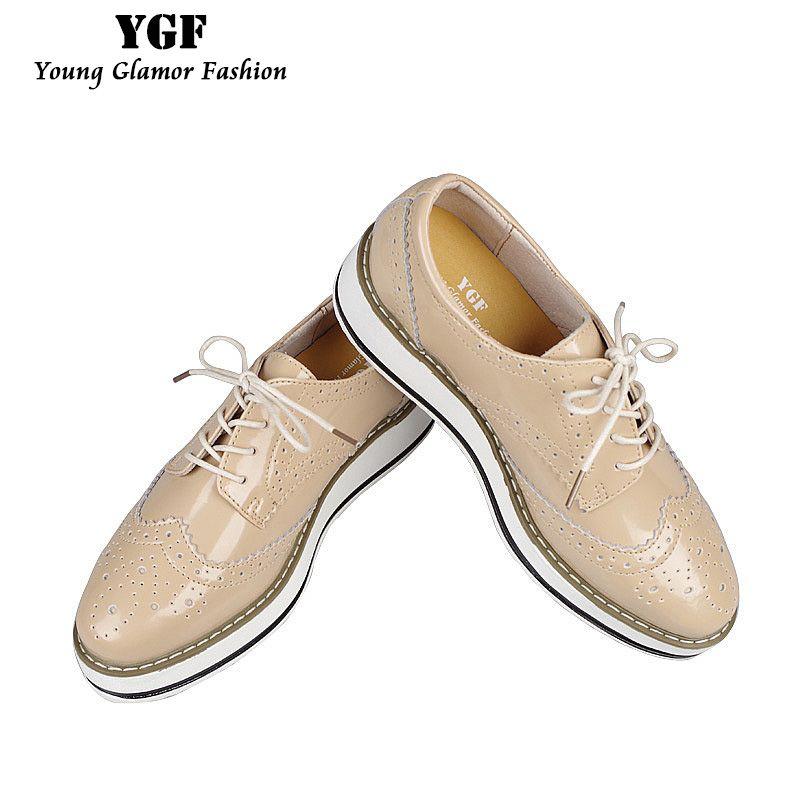 965b966a7370 Pas cher YGF Véritable En Cuir Appartements Plate Forme Chaussures Femmes  Classique Derbies Oxford Chaussures pour Femmes 2017 Printemps Été Dentelle  up ...