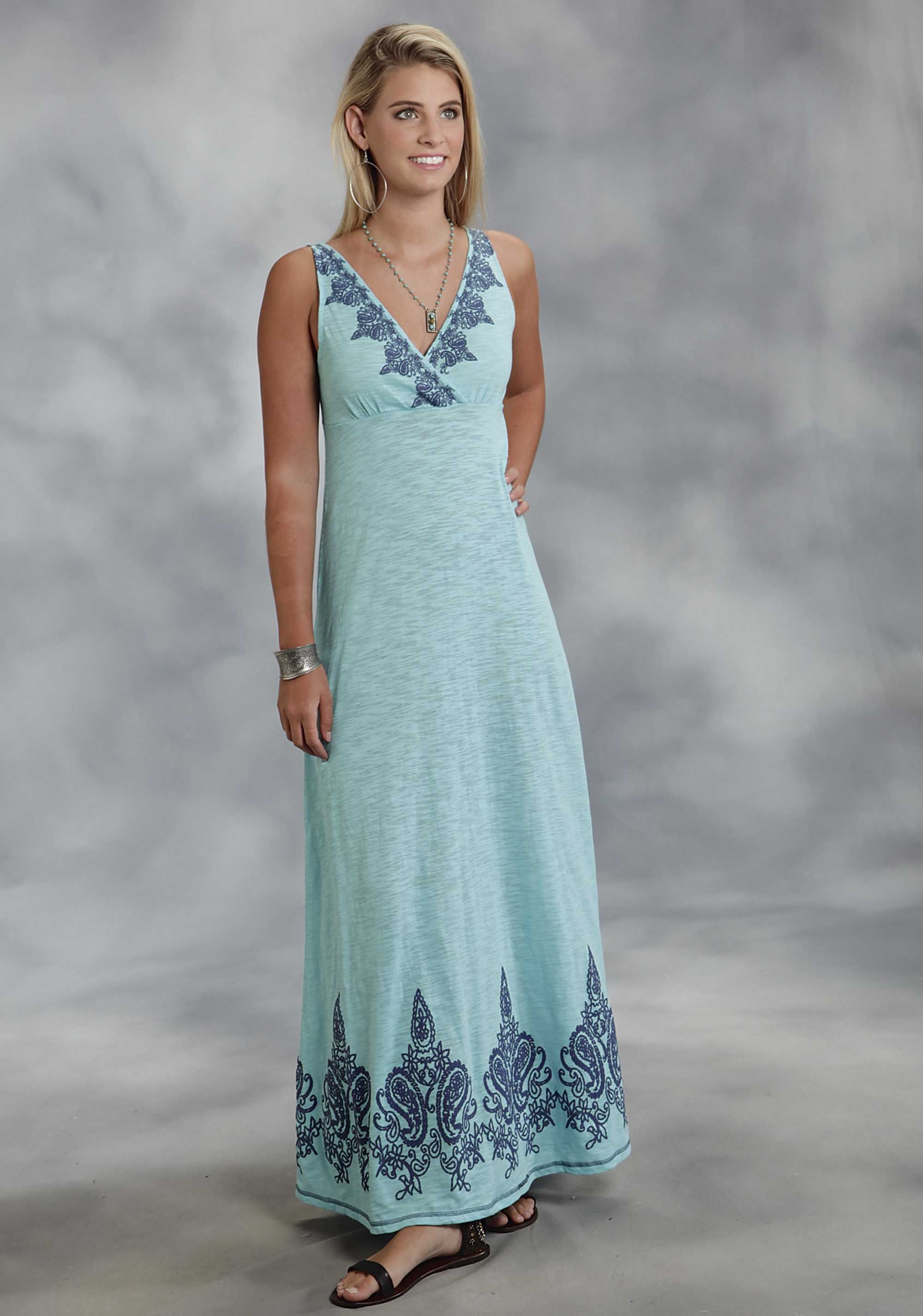 Roper® Aqua Floral Embroidered Empire Waist Western Maxi Dress ...