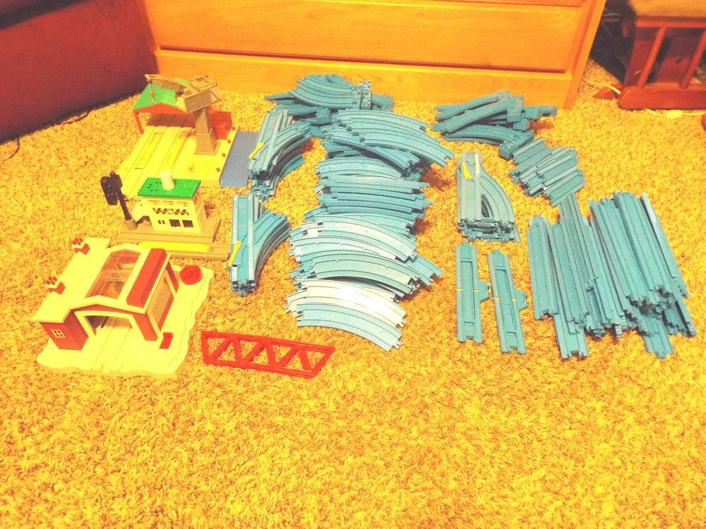 Huge Lot 199  Pieces* Thomas The Train Tomy Blue Track has battery oper. cranky #tomythomas