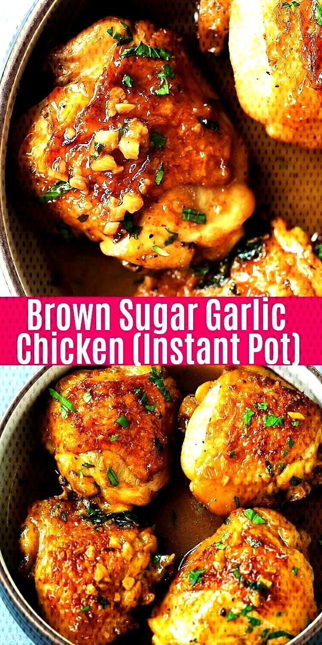 Juicy and fall-off-the-bone chicken thighs with brown sugar garlic sauce, pressure cooked in an Ins