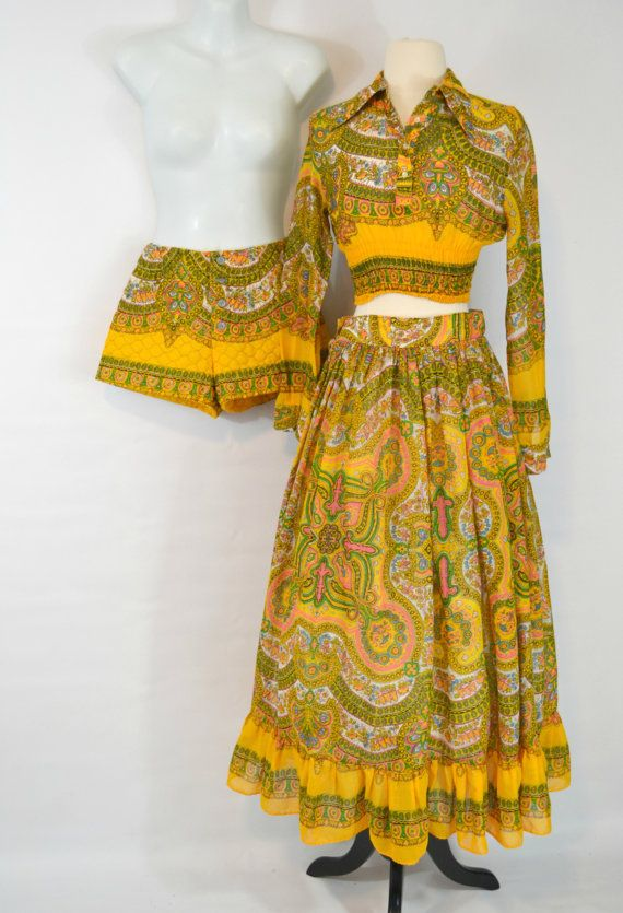 1970s Boho Yellow Abstract Print 3 Piece by KrisVintageClothing, $98.00
