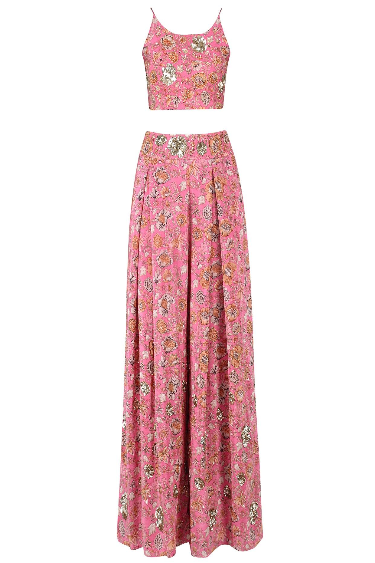 Pink floral strappy crop top with palazzo pants available only at ...