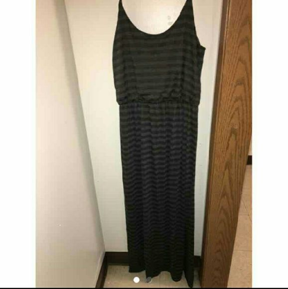 Espresso Sundress Size XL Size XL Green and Black Stripes Dresses Maxi