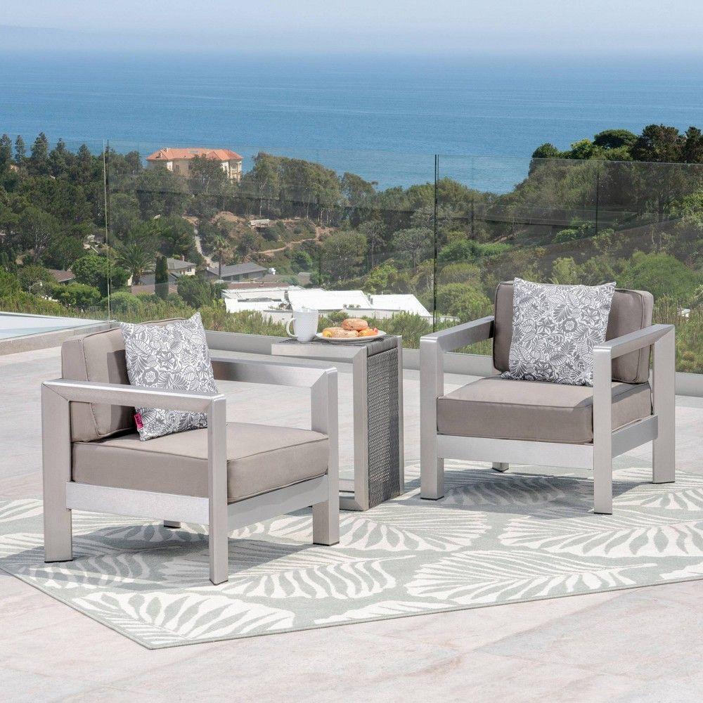 Best Aviara 3Pc Aluminum Wicker Club Chair Set Silver Khaki 640 x 480