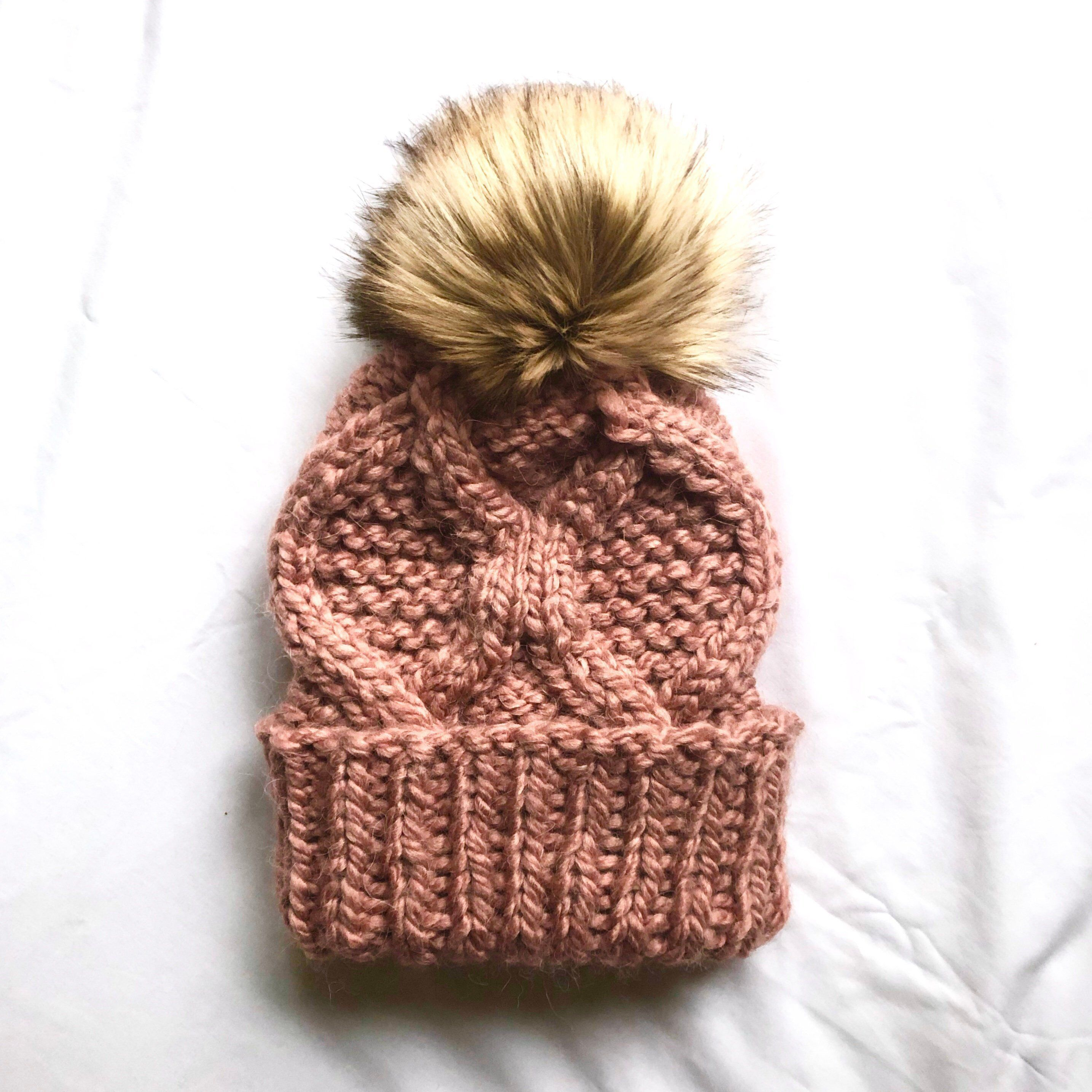 e216a70b5f3 Excited to share this item from my  etsy shop  Onni Beanie - Rose Blush    Knit  Cable Beanie    Knit Toque    Wool Hat    Winter Hat    Cable Knit Hat ...