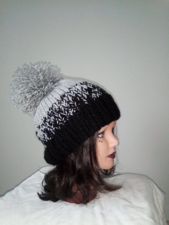 Hat woman, teen girl knitted wool hat – big tassel – Handmade knitwear – beanie – winter clothing – handmade