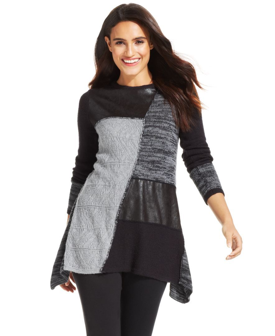 Style&co. Petite Patchwork Faux-Leather Sweater Tunic | Products ...