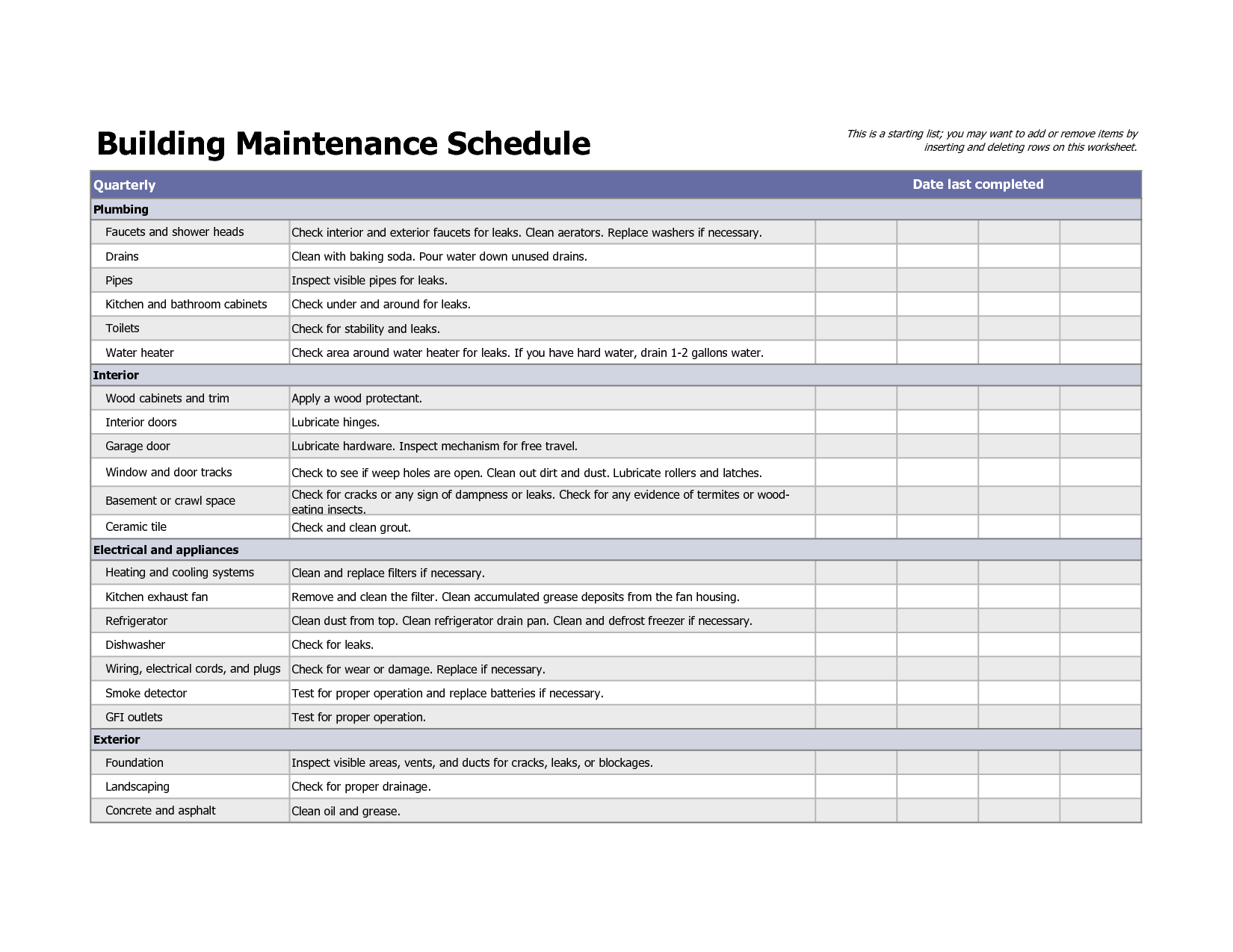 Building maintenance schedule excel template maintenence for Facility security plan template