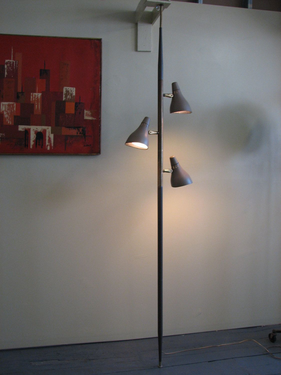Mid century modern 1960s floor to ceiling lamp made of metal mid century modern 1960s floor to ceiling lamp made of metal lightolier gerald thurston geotapseo Image collections