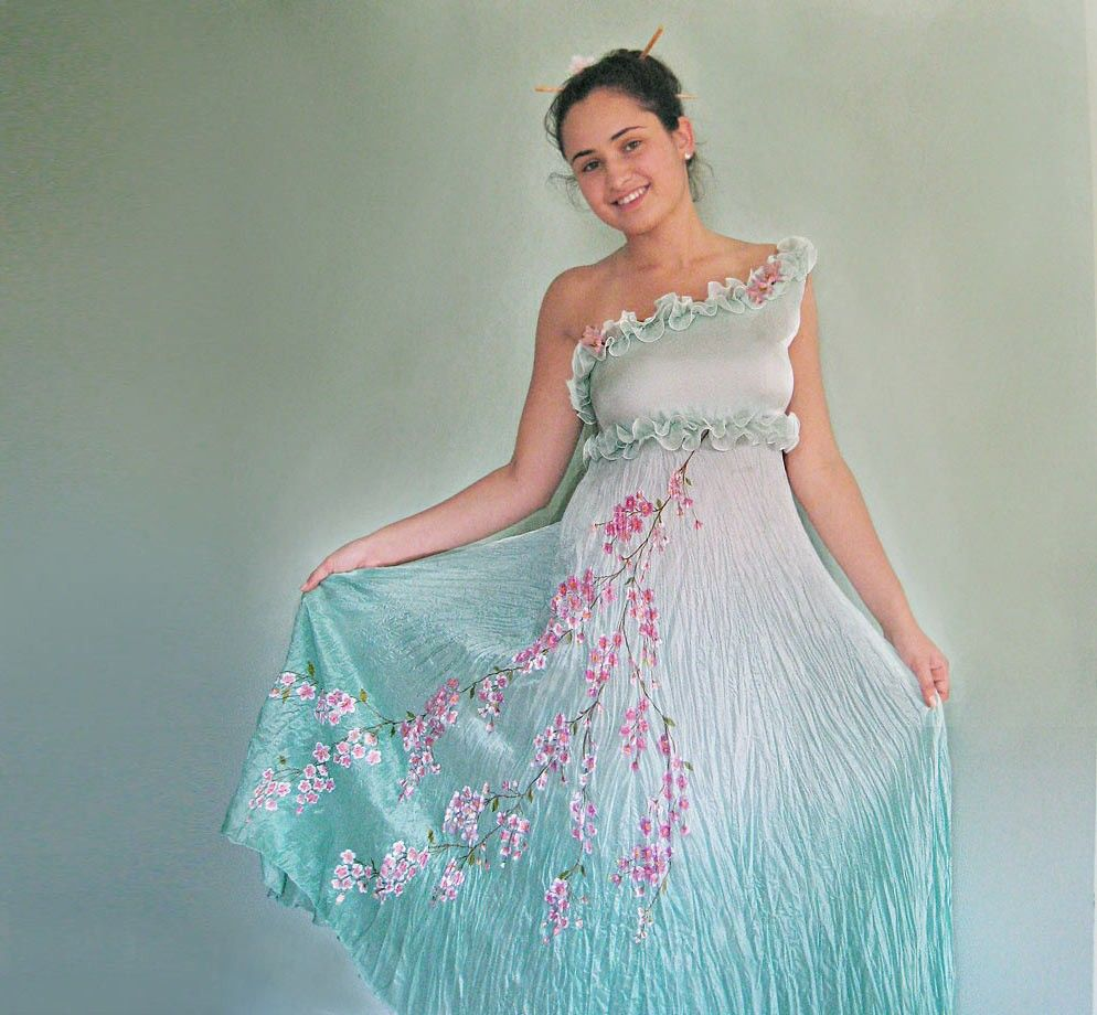 Funky Wedding Gowns: Dreaming Of Japan Silk Hand Painted Summer Evening Or