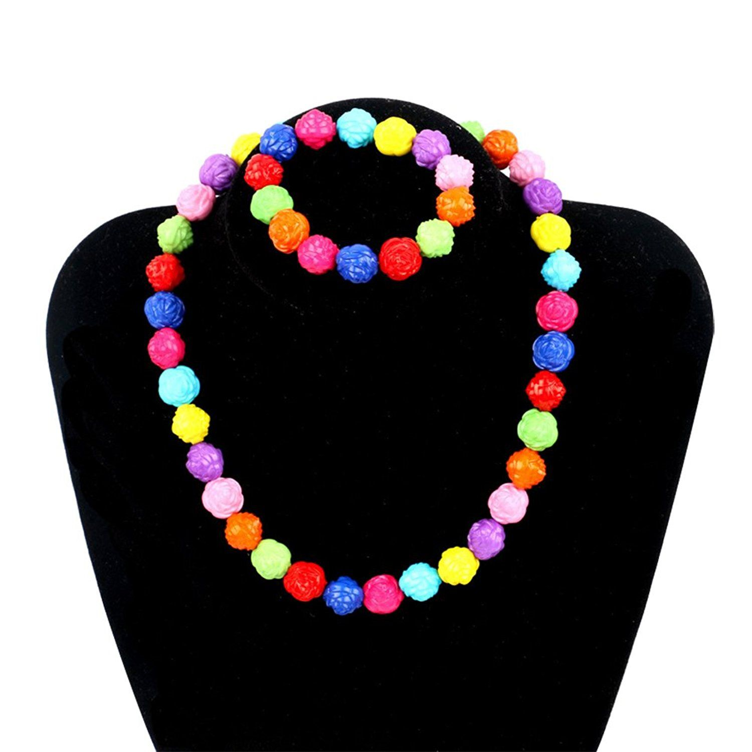 Kids Jewelry Rose Flower Necklace bracelet Jewelry Set Fashion Jewelry For Little Girls >>> For more information, visit image link.