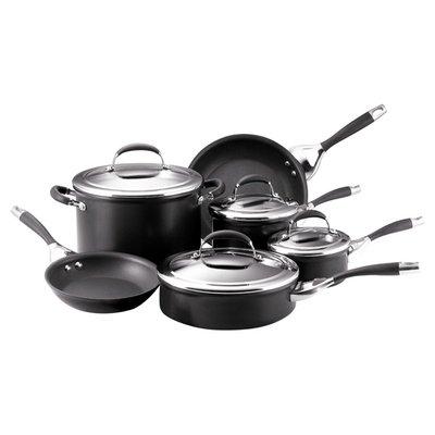 Circulon Elite Aluminum 10 Piece Cookware Set Color Black Cookware Set Cookware Set Stainless Steel Induction Cookware