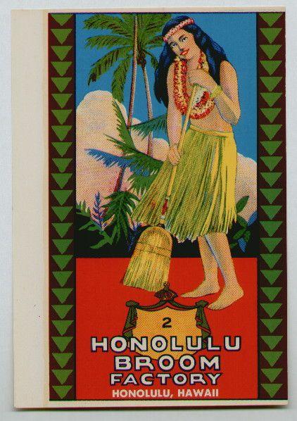HONOLULU BROOM FACTORY Vintage Broom Label
