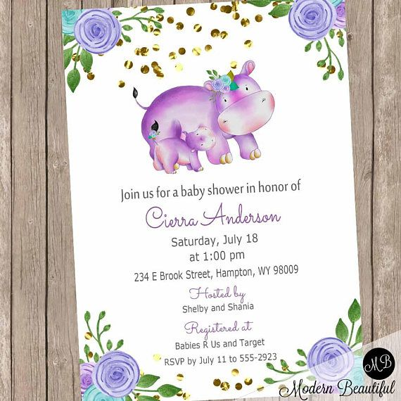 Purple and Gray Girl Hippo baby shower invitation, floral baby ...