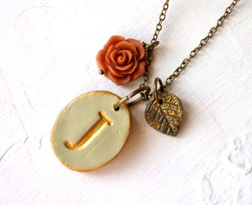 Vintage Letter Necklace  Rustic Chic   English Garden by Palomaria, $30.00