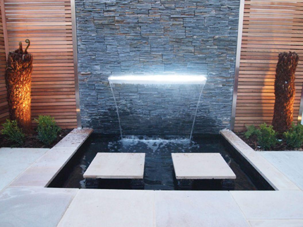 modern outdoor water wall fountain