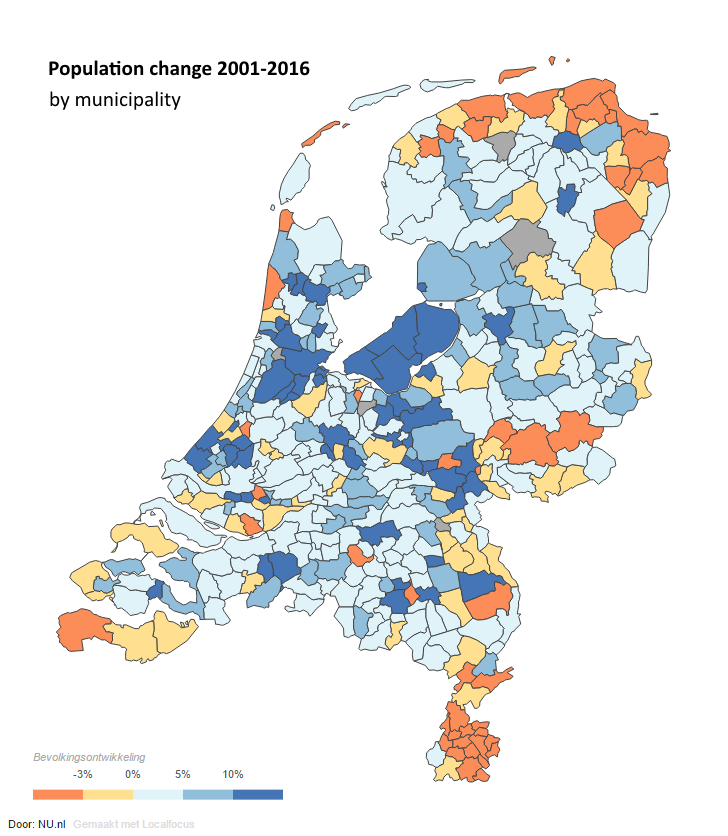 Population change in the Netherlands 20012016 by Nunl map