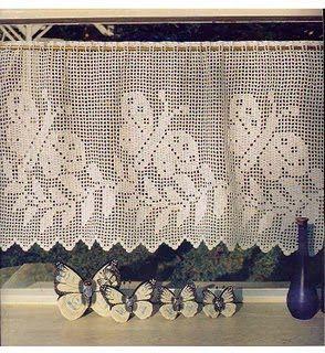 Hermosas cortinas tejidas a crochet   Tejidos | Diagram, Crochet